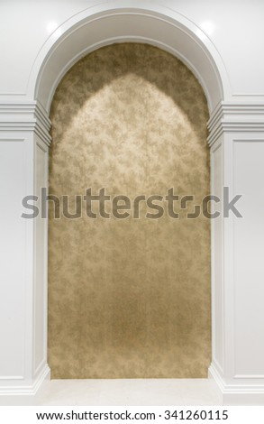 Luxurious wall with graceful columns and arches - stock photo