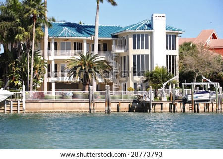 Luxurious water front homes. Florida. - stock photo