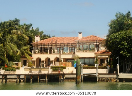 Luxurious waterfront home in Miami in final stage of construction - stock photo