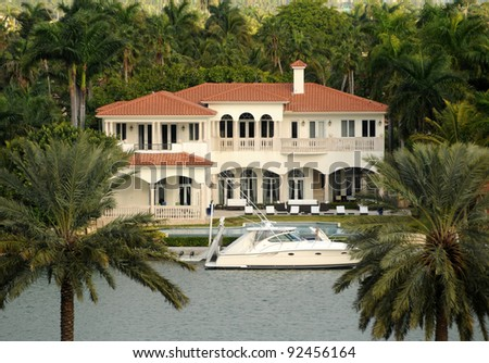 Luxurious waterfront real estate in Miami, Florida - stock photo