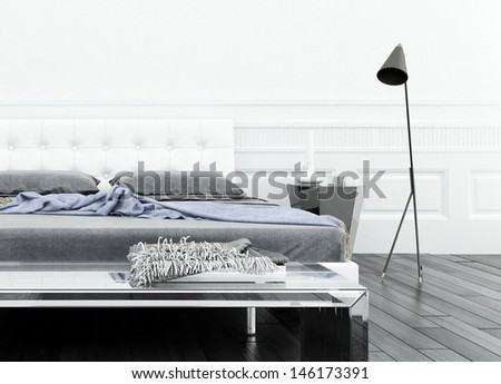 Luxurious white bedroom interior with double bed - stock photo
