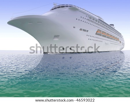 Luxurious white ship sailing on the sea from time immemorial a clear day - stock photo