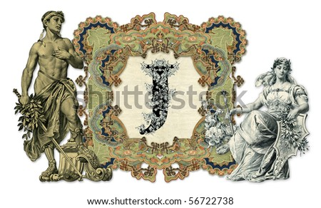 Luxuriously illustrated old capital letter J with man and woman.