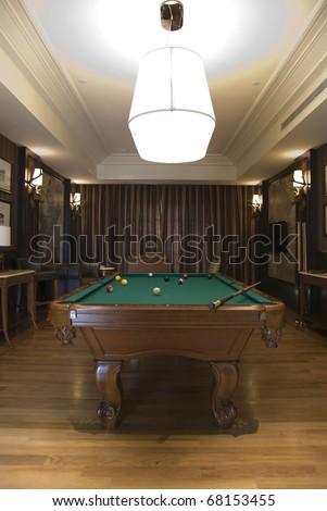 Luxurry billiards room - stock photo