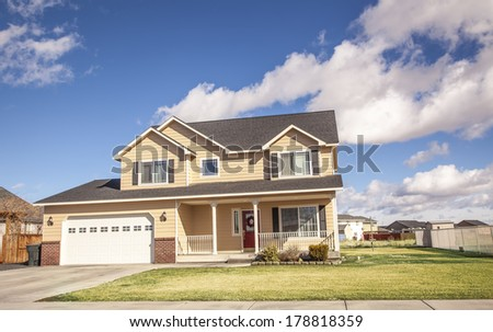 luxury American family house   - stock photo
