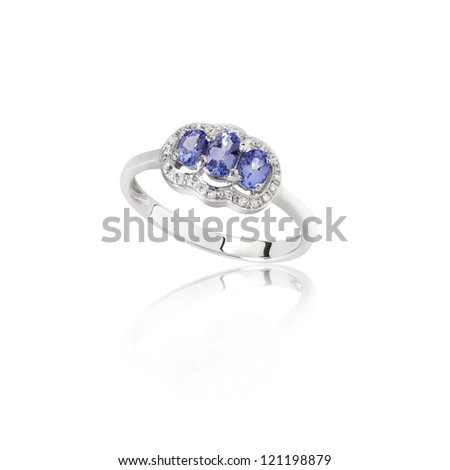 luxury and beautiful sapphire ring on white - stock photo