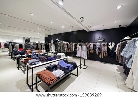 luxury and fashionable european different clothes shop - stock photo