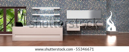 Luxury and modern bathroom interior design. Glass mosaic tiles wall decoration. Bath tube and sink for 2 persons, mirror, creative lamp, empty white shelves. 3D rendering illustration. - stock photo