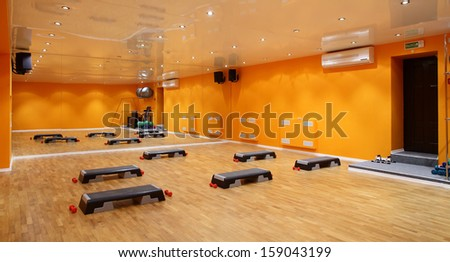 luxury and modern european style fitness club - stock photo
