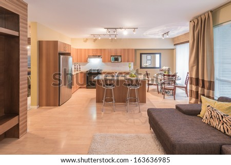 Luxury and nicely decorated living set, kitchen and the living suite, room. Interior design. - stock photo