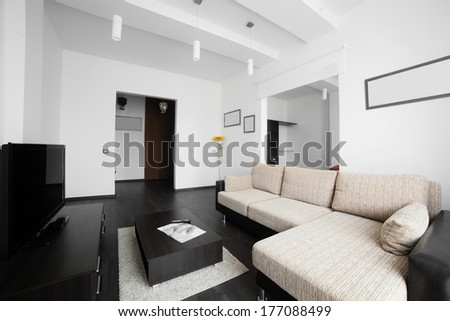 luxury and very clean empty european kitchen - stock photo