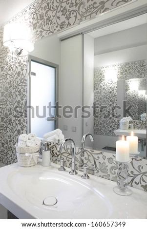 luxury and very clean toilet in european style - stock photo
