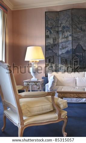 luxury apartment, interior comfortable suite, detail room - stock photo