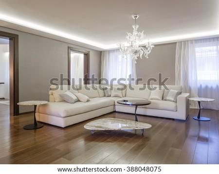 Luxury apartment living room - stock photo