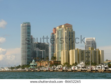 Luxury apartment units in Miami Beach, Florida - stock photo