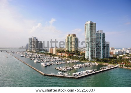 Luxury apartments in port of Miami - stock photo