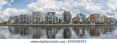 Luxury apartments on the nissan riverside close to the university at Halmstad, Sweden. - stock photo
