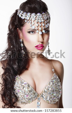 Luxury. Aristocratic Woman in Glossy  Crown with Jewelry