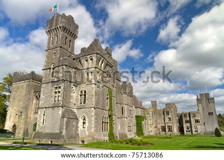 Luxury Ashford castle and gardens - Co. Mayo - Ireland - stock photo