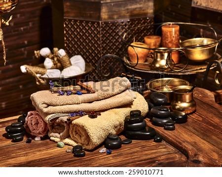 Luxury ayurvedic spa massage still life. Stone therapy. - stock photo