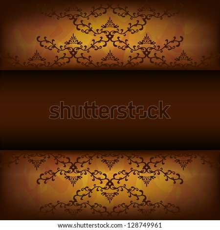 Luxury background golden-chocolate with decorative pattern in vintage or grunge style, place for text. Raster version - stock photo