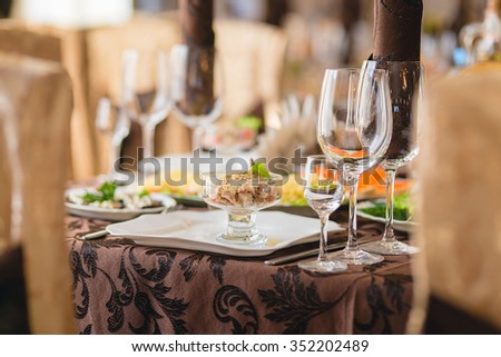 Luxury banquet table setting at restaurant