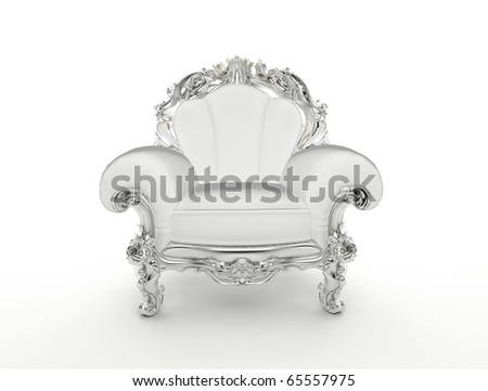 Luxury baroque armchair with silver frame isolated on white background