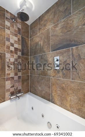 luxury bath tub with shower and massage feature - stock photo