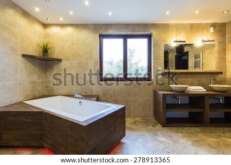 Luxury bathroom in a beautiful modern residence - stock photo
