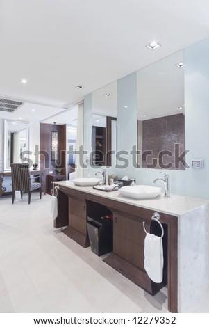 luxury bathroom in bedroom interior - stock photo