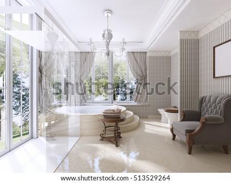 Luxury Bathroom Classic Style Jacuzzi Stock Illustration 513529264