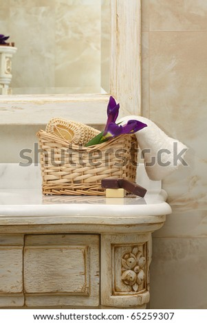 luxury bathroom interior and furniture - stock photo