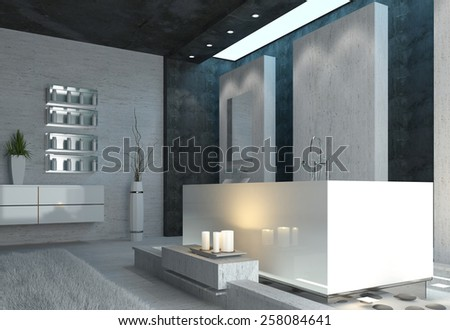 Luxury bathroom interior with burning candles and elegant grey, black and white modern decor in a romantic home setting. 3d Rendering.  - stock photo
