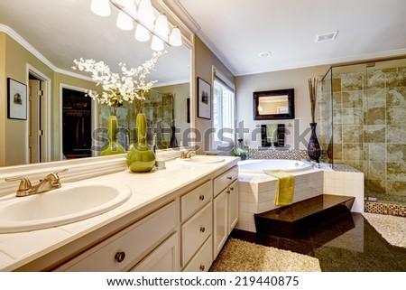Luxury bathroom interior with corner bath tub and glass door shower - stock photo