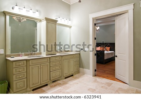 luxury bathroom suite looking through double doors to bedroom. Bedroom Double Doors Open Porch Stock Photo 12633754   Shutterstock