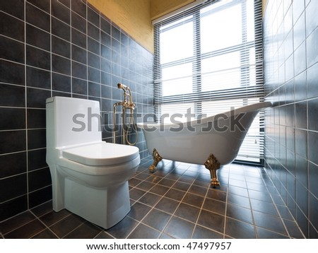 luxury bathroom with beautiful bathtub and toilet - stock photo