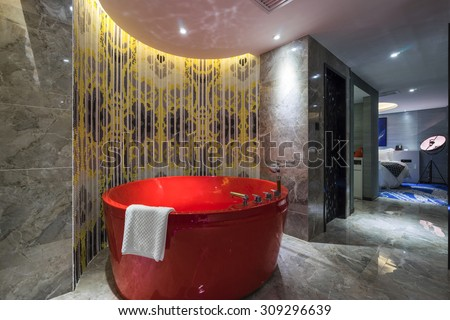 luxury bathroom with very nice decoration - stock photo