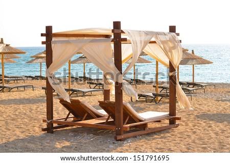 Luxury beach bed - stock photo