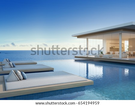 luxury beach house with sea view swimming pool in modern design vacation home for big