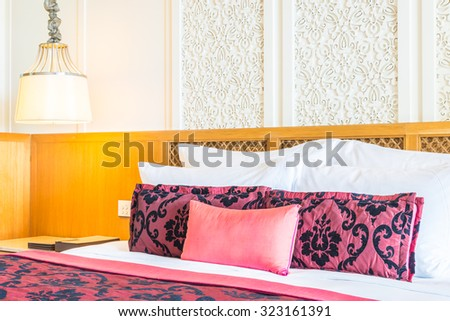 Luxury beautiful pillow decoration on bed in bedroom