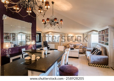 Luxury beauty interior arranged in baroque style - stock photo