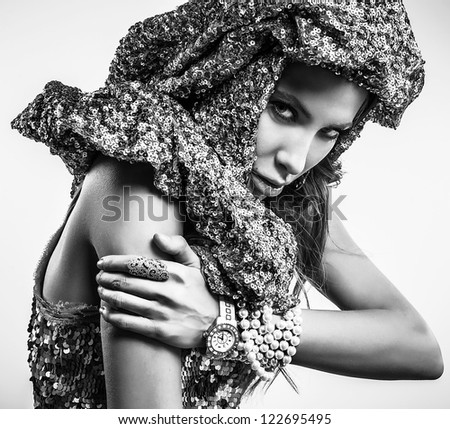 Luxury & beauty woman in a fashionable clothes. Black-white studio fashion photo. - stock photo