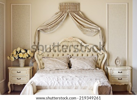 Luxury bed in romantic style bedroom