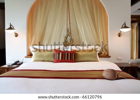 luxury bedroom - stock photo