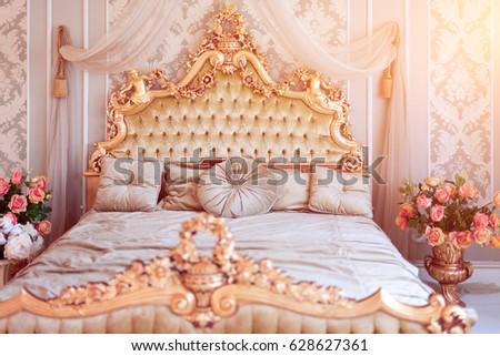 Luxury Bedroom Light Colors Golden Furniture Stock Photo (Edit Now ...