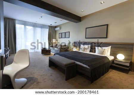 Luxury bedroom interior - stock photo