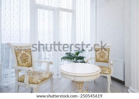 Luxury bedroom interior. coffee table - stock photo