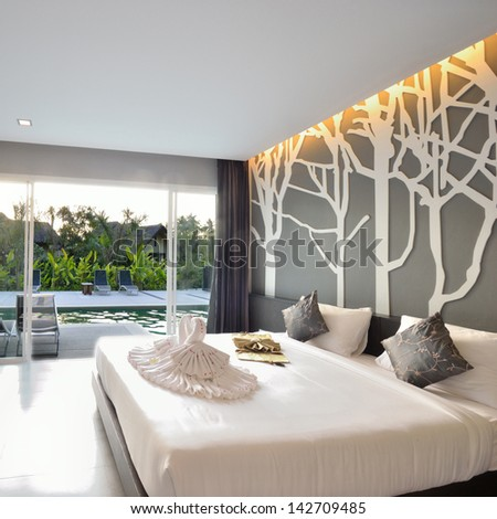 Luxury bedroom interior design for modern life style. - stock photo
