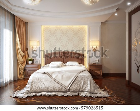 Luxury Bedroom Interior Design In Classic Style With Artistic Parquet