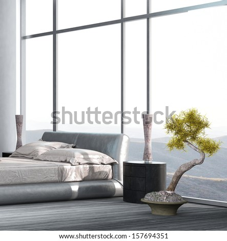 Luxury Bedroom interior with floor to ceiling windows and houseplant - stock photo